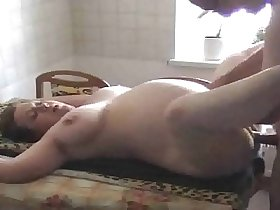 Shaved pregnant cheating wife fucked in the kitchen
