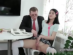 Erotic schoolgirl was tempted and nailed by her senior teacher