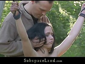 Petite slave suffers rough bondage sub as her mouth is cock used