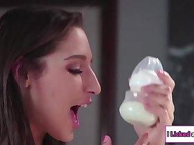 Babysitter sucking her boss breast milk