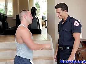 Muscular athletic stud pounded hard