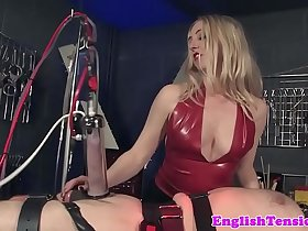 Bound sub whipped by femdom before machine