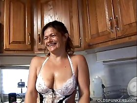 Trashy old spunker in sexy lingerie fucks her juicy pussy for you