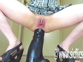 Wrecking Her Ass With a Colossal Dildo